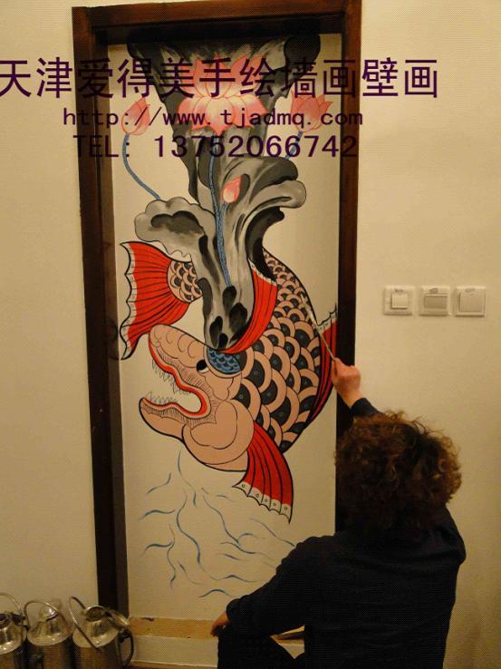 餐厅画的手绘墙彩绘画!